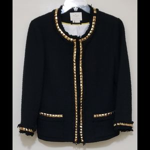 Kate Spade  Gold Studs Wool Sz 8 Callorless jacket